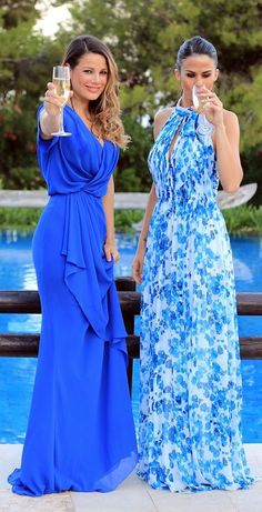 Blue Maxi Prom Dresses Summer Style