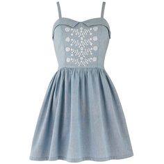 Cheri Sweetheart Chambray Dress (2.555 RUB) ❤ liked on Polyvore featuring dresses, vestidos, sweetheart long dress, long dresses, braid dress, sweetheart neck dress and blue sweetheart dress