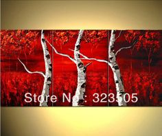 3 panel canvas wall art Modern abstract three piece red tree ...
