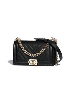 BOY CHANEL handbag, grained calfskin & gold-tone metal-black - CHANEL