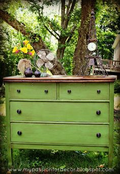 White and Neglected Craigslist Dresser Turned Green Beauty.