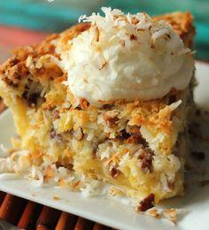 Island Pecan Pie. With coconut and pineapple, it is the best pecan pie !