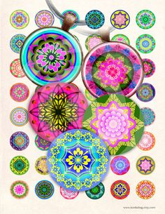Mandalas digital collage Sheet 1 inch round images by NakedWildBee