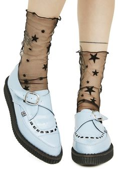 Star Light Sheer Socks will have yew wishin' on da brightest star tonite, bb. These socks feature a sheer black construction with lots of black starz scattered all over.