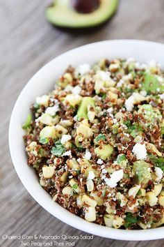 Charred Corn & Avocado Quinoa Salad Recipe on http://twopeasandtheirpod.com A simple and healthy summer salad!