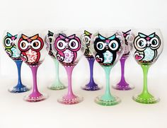 Owl goblet wine glass - hand painted - can be custom - 20 oz. $20.00, via Etsy.