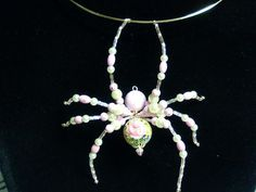 Pink Rose Pearl Spider Pendant