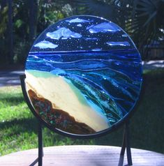 Sculpture SEA SHORE DREAMS fused glass stained glass ocean scene suncatcher accent to beach house tropical key west view. $495.00, via Etsy.