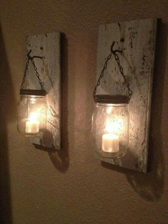 Mason jar candle lanterns