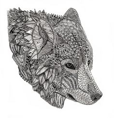 wolf mural kerby rosanes Doodle Coloring pages colouring ...