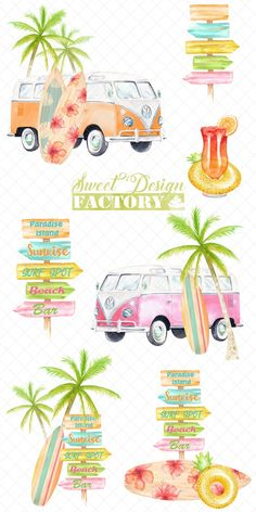 Watercolor surf clipart by Sweetdesignfactory on Beach Clipart, Summer Clipart, Wolkswagen Van, Summer Drawings, Travel Clipart, Vintage Hawaii, Stock Art, Beach Art, Textile Prints