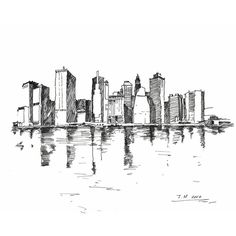 Marker Portraits (New York City Skyline) - 8 in x10 in ($40) ❤ liked on Polyvore