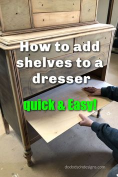 repair ideas After learning how to add shelves to a dresser, those curbside finds gave a new meaning to furniture flipping the quick amp; easy way. These are opportunities for you to learn tips and tricks in furniture restoration. Repair and recycle! Cheap Furniture Makeover, Diy Furniture Renovation, Diy Furniture Projects, Garden Furniture, Redoing Furniture, Furniture Design, Diy Furniture Flip, Dresser Furniture, Diy Projects