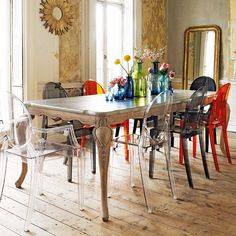 dining-room-with-Loire-dining-table-ghost-chair-and-antique-mirors
