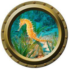 An adorable nautical addition to any wall! An Orange Sea Horse Porthole Wall Decal. $13.00, via Etsy.