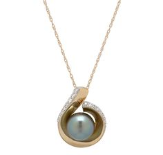 "14K Yellow Gold South Sea Pearl & Diamond Pendant with 18"" Chain $749.99"