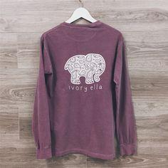 Ivory Ella Women Print Animal Elephant T Shirt Loose Long Sleeve Harajuku Tops