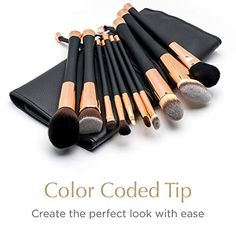 nice Fancii Professional Makeup Brush Collection, Set High End Cosmetic Brush, Cruelty Free Synthetic Bristles for Foundation Blending Powder Blush Eye Shadow, Travel Leather Clutch, Rose Gold It Cosmetics Brushes, Eyeshadow Brushes, Makeup Cosmetics, Eye Palette, Eyeshadow Palette, Makeup Guide, Makeup Ideas, Neutral Eyeshadow, Lots Of Makeup