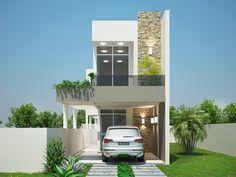 Projetar Casas | Projeto de sobrado, terreno de 5m de frente, com 3 suítes e varanda gourmet e vaga para 2 carros - Cód 34