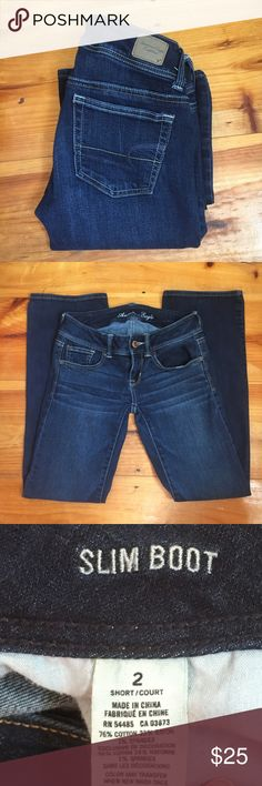 American Eagle Slim Boot Jeans Size 2 short slim boot medium/dark wash jeans. American Eagle Outfitters Jeans Boot Cut