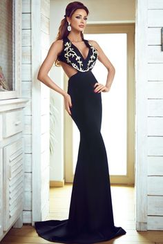 5c3b5df5f119 Dare to bare in this gorgeous maxi evening dress. Featuring contrast gold  embroidered detail