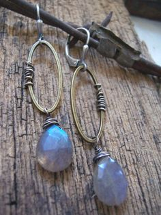 4753667e7 Barbed Wire, Labradorite Drop Earrings, Mixed Metal earrings, Labradorite  Earrings, Oval Hoop