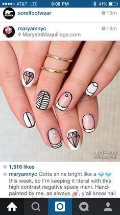 Diamond and white natural nails