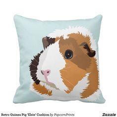 Retro Guinea Pig 'Elsie' Cushion Throw Pillows