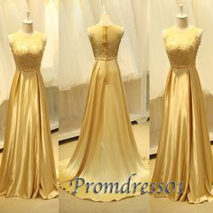 2015 elegant golden lace chiffon round neck short sleeves a-line slim prom dress for teens, ball gown, evening dress, custom made plus size dresses #promdress #coniefox #2016prom