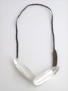 Adele Brereton Long Form Woven Necklace with Ceramic fine silver, sterling silver, stainless steel, found ceramic