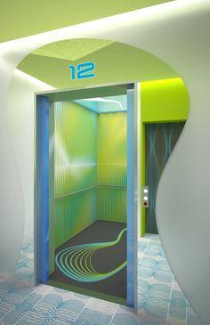 elevator lobby concept under construction in Korea
