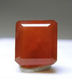 A 1.15 carat rectangular Friedelite with a beautiful red color and excellent quality for the material.  This piece was cut from the rough bought from Herb Obodda's inventory.It comes from defunct Sterling Mine in New Jersey
