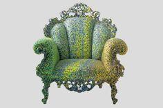 DETAILS:  pointillism arm chair