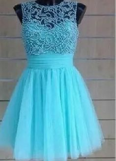 2016+Homecoming+Dresses+Scoop+A-Line+Tulle