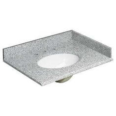 Foremost 31 in. W Granite Vanity Top in Rushmore Grey and Basin in White with Backsplash and Optional Sidesplash at The Home Depot - Mobile Quartz Vanity Tops, Granite Vanity Tops, Marble Vanity Tops, Bathroom Vanity Tops, Hall Bathroom, Bathroom Ideas, Bathrooms, Single Sink Vanity, Vanity Sink