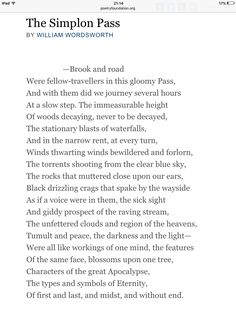 """""""The Simplon Pass"""" by William Wordsworth"""