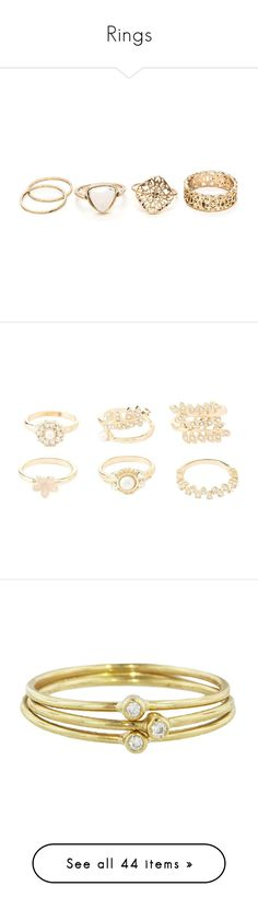 """""""Rings"""" by nerdsofeverystyle ❤ liked on Polyvore featuring jewelry, rings, accessories, metal, thin stackable rings, filigree band ring, stackable rings, flower ring, channel-set band ring and gold"""