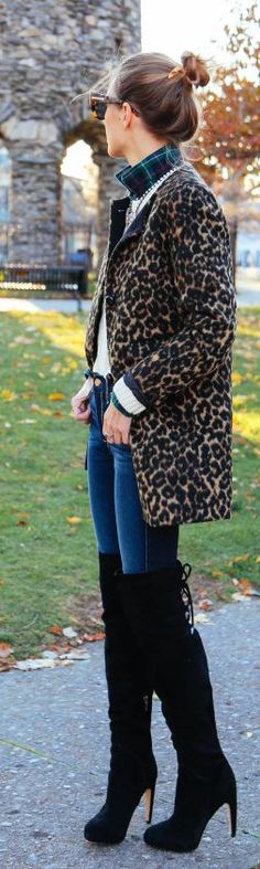 Camel And Black Leopard Coat
