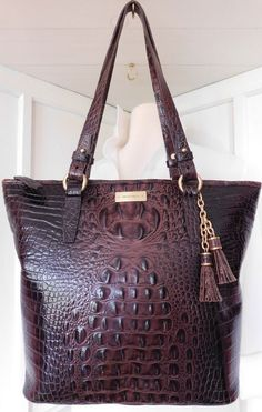 0e2f85130620 Brahmin Asher Melbourne CROC Leather Tote Cocoa Brown LARGE