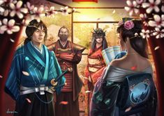 """Illustration for The New Order, Legend of Five Rings ©AEG """"We are all in agreement then,"""" Makoto said. For the benefit of Scorpion . A New Alliance Medieval Art, Medieval Fantasy, Dragon Samurai, Buildings Artwork, Mixed People, Japanese Warrior, L5r, Pop Culture Art, Story Arc"""
