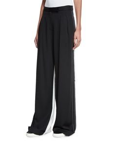Pleated-Front Wide-Leg Combo Pants, Black