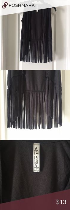 Cropped fringe vest Size states Large but it is a Small. Material feels like a faux suade. Tops Crop Tops