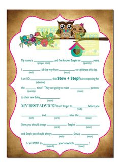 etsy baby shower madlibs - Google Search