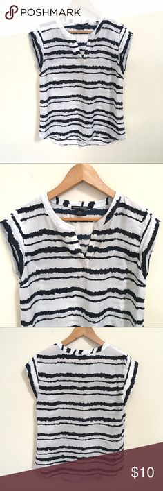 Striped Navy and White Blouse Hilary Radley white and navy striped blouse. Size small. Hilary Radley Tops Blouses