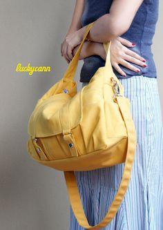 Thanksgiving Sale // 10% off // ASTER // Lemon Chiffon // Everyday Canvas Bag //  Luckycann //sale. $47.00, via Etsy.