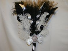 Wedding Jumping Broom custom made your colors and decor shown black and white feathers
