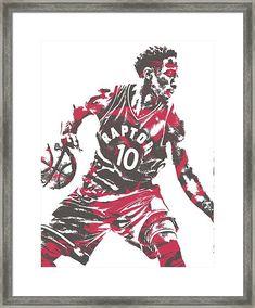 Demar Derozan Toronto Raptors Pixel Art 6 Framed Print
