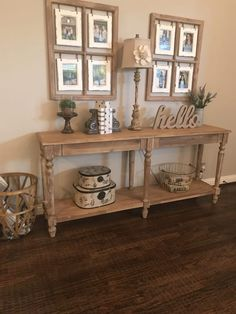Everett Foyer Table: Natural - Wood by World Market rustic home decor shabby Living Room Designs, Living Room Decor, Dining Room, Flur Design, Home Design, Hallway Designs, Foyer Decorating, Decorating Ideas, Country Style Homes