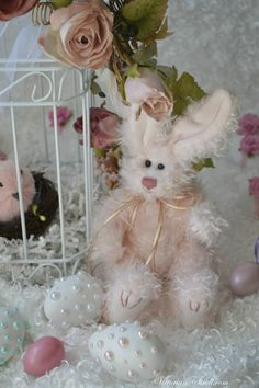 Blush Bunny.....isn't he adorable....showing off his Shabby Chic look....