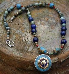 Tibetaanse ketting edelsteenTurkoois kralen, Koraal en Lapis Lazuli